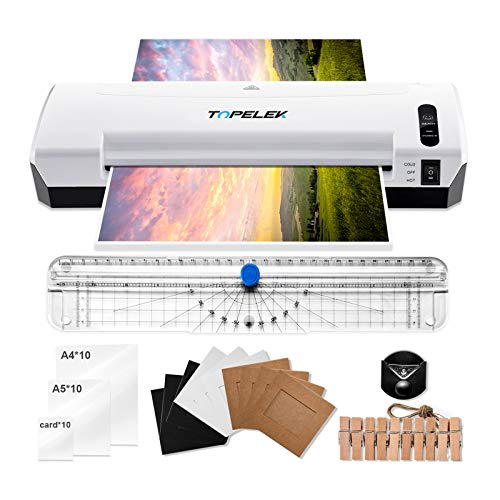 Laminator Machine, TOPELEK 5-in-1 A4 Thermal Laminator Machine with 30 Laminating Pouches, Paper Trimmer, Corner Rounder, Photo Clip Kit, Hot & Cold Laminating Machine for Home Office School