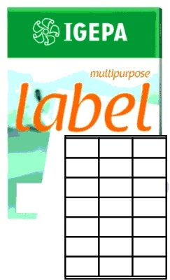 Igepa Label Multipurpose Etiketten 70 x 41 mm Papier permanent haftend für Laser- und Injektdrucker sowie Kopierer 100 Blatt A4 / 2100 Etiketten