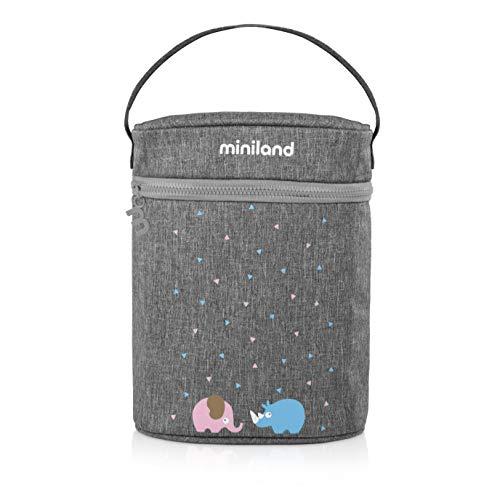 Miniland 89320 Isoliertasche für Babyflaschen und Isolierkannen, thermibag double azure-rose, grau