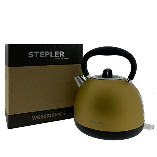 STEPLER Wasserkocher Retro-Design 1,7 Liter (WKR001) | Teekessel | Flötenkessel | Teekocher | Überhitzungsschutz | Automatische Abschaltung | 360° drehbar | Rostfreier Edelstahl (BRASS)
