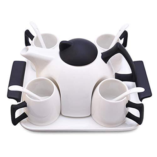Tee-Set zu Hause Wasser Tasse Wohnzimmer einfache Keramik Tasse Nachmittagstee kreative Kaffeetasse Tablett 6-teiliges Set 200ml
