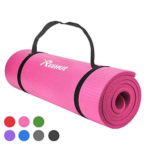 REEHUT Colchoneta de Yoga de NBR de Alta Densidad y Extra Gruesa de 12mm Diseñada para Pilates, Fitness y Entrenamiento - con Correa de Hombro 180cm x 61cm(Rosa)