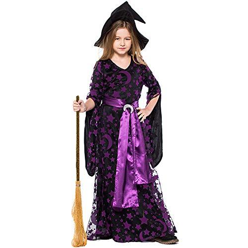 Aiqing Costume da Strega per Bambina/Adulto - Costume da Strega Magica di Halloween Viola Stella e Luna Set Completo