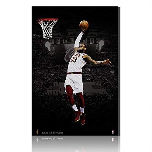 Cave Lebron James Cleveland Cavaliers Canvas Prints NBA Poster Immagine Opera Uomo (Prints 27,100x160cm)