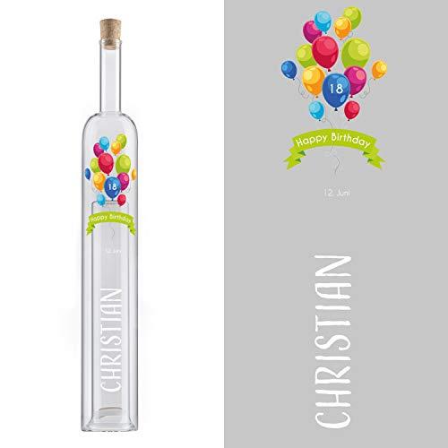 Hohlraumflasche Geburtstag (Luftballons, ohne Holzverpackung): Edelglasflasche mit Gravur, mit Name, Datum und Alter personalisiert - Flasche mit zweitem Hohlraum, Geldgeschenk