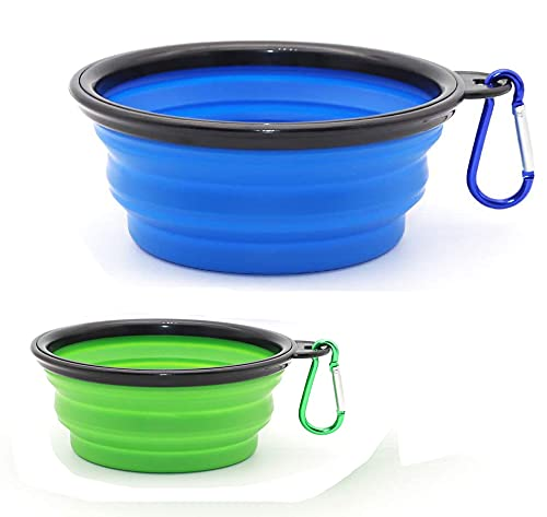 Set di 2 ciotole da viaggio pieghevoli in silicone per cani da compagnia, cane, ciotola portatile per acqua o alimentare per cani medio-grandi (1000 ml + 350 ml, blu e verde)