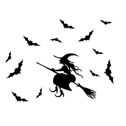 fablcrew Stickers muraux Patron de balai de Halloween