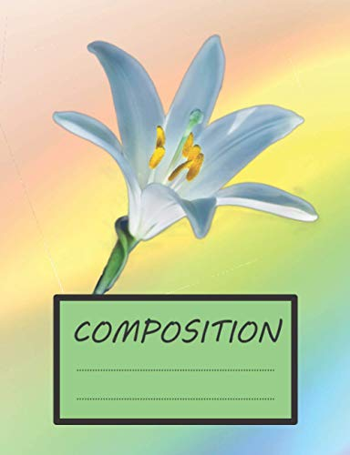Composition: Notebook Wide Ruled Paper, 7.44 x 9.69 Inches, 100 Sheets (200 pages) with extras ...