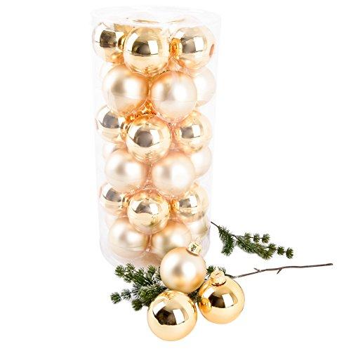 Dadeldo Living & Lifestyle Weihnachtskugel Premium 30er Set Glas 6cm Xmas Baumschmuck (Gold)