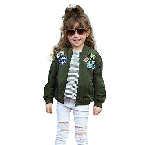 URSING Kleinkind Mädchen Kinder Baby Cartoon Stickerei Jacke warme Mantel Oberbekleidung Steppmantel Outdoorjacke Reissverschluss Winterjacke Sportlich Baseball übergangsjacke Kurzjacke (7T, Arm Grün)