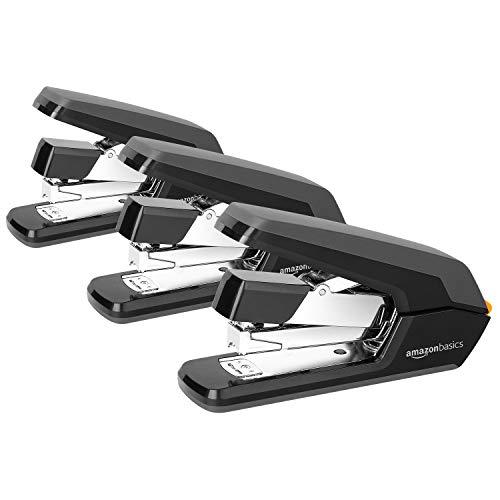 Amazon Basics Reduced Effort Desk Stapler, 40 Sheet Capacity - Black, 3 Pack