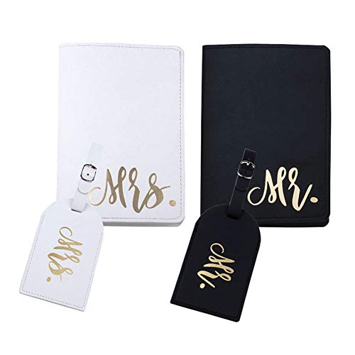 mr and mrs passport covers and luggage tags gift set, couple passport holder for honeymoon