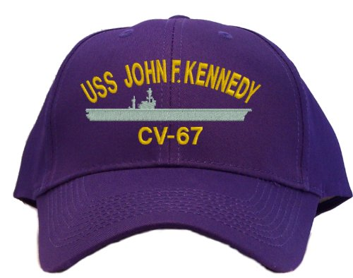 USS John F. Kennedy CV-67 Embroidered Baseball Cap - Purple
