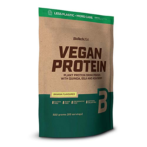 BioTech USA Vegan Protein Package of 1 x 500g - Pea Protein Isolate and Rice Protein with Arginine and Glutamine (Banana)