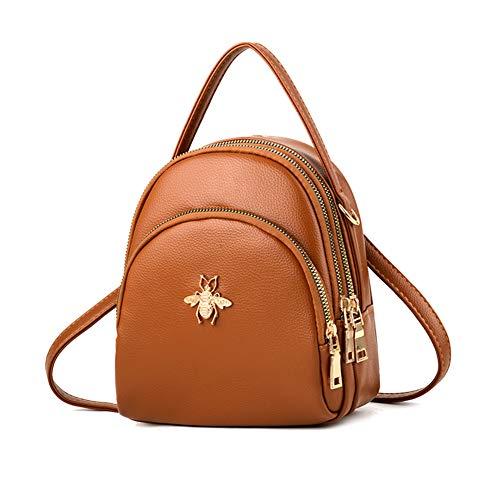 Fashion Mini Backpack Purse for Women Girls Cute Shoulder Bags Brown Size: S