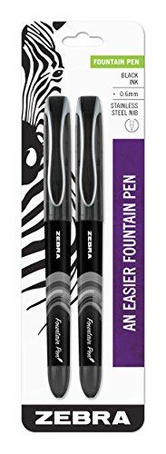 Zebra Pen Conjunto de canetas-tinteiro, ponta fina 0,6 mm, tinta preta não tóxica, ponta de aço inoxidável, descartável, pacote com 2 (48312)