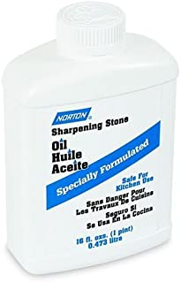 Norton Abrasives - St. Gobain XB5 (61463687770) Sharpening Stone Oil, Specially Formulated Natural Highly-Refined Light Mineral Lubrication Oil, Pharmacopoeia Grade Safe For Kitchen Use, 1 Pint/16 Ounce