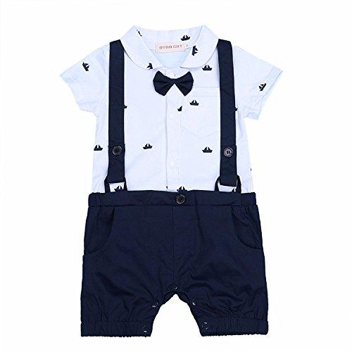 G-Kids Baby Jungen Strampler Smoking EinteilerGentleman Strampler Sommer Kleidung Taufkleidung Festlich Fliege Outfit (80/6-12 Monate)