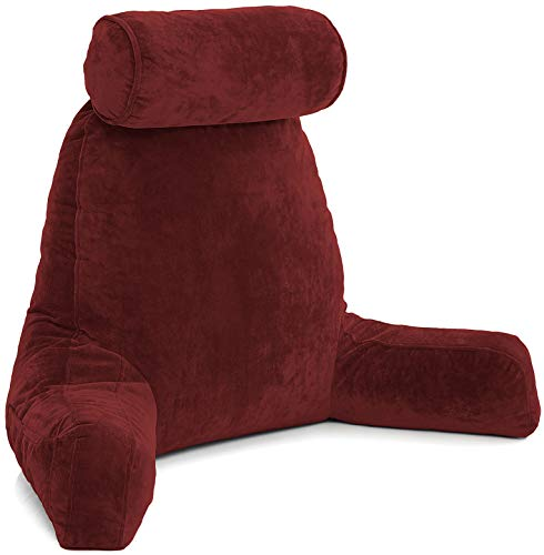Husband Pillow XXL Maroon Backrest with Arms - Adult Reading Pillow with Shredded Memory Foam, Ultra-Comfy Removable Microplush Cover & Detachable Neck Roll, Unmatched Support Bed Rest Sit Up Pillow