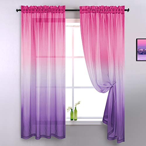 Pink and Purple Curtains for Girls Room Decor Set of 2 Panels Rod Pocket Window Gradient Ombre Short Girls Curtains for Bedroom 42x63 Inches Long