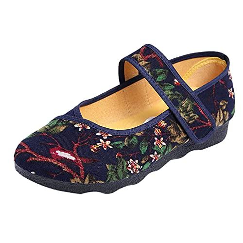 Mujer Señora Estilo Chino Bordado Verano Casual Zapatillas ZapatosVerano de Lino de algodón Alpargatas Planas Deslizamiento en Zapatos Bordados señoras