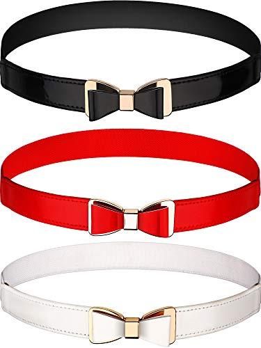 Tatuo 3 Pezzi Donne Skinny Cintura Sottile Elastico Cintura Fiocco per il Vestito, 3 Colori (Set 1)