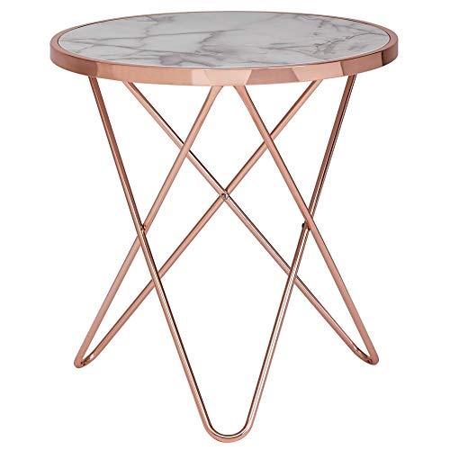 Wohnling Design Bijzettafel, marmerlook, wit, rond, Ø55 cm, metalen frame, kleine woonkamertafel, salontafel