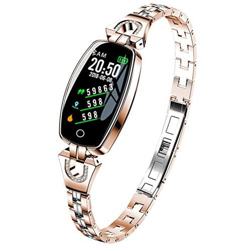 WMWX Neues intelligentes Armband der Damen, H8-Damenuhr-Herz-Blutdruck-Überwachung, Stahlband-wasserdichte Uhr,Gold