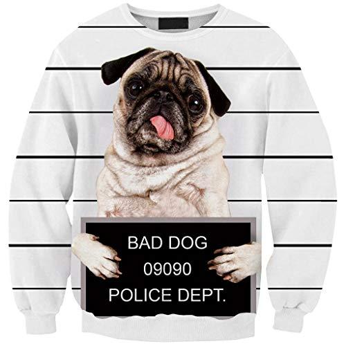 Siennaa Unisex Ugly 3D Druck Pullover Damen Bad Dog Police DEPT Pulli Teenager Mädchen Coole Animal Druck Weihnachten Sweatshirt Langarmshirts Oberteile Tops Shirts Hemd Bluse (Hund, Free Size)