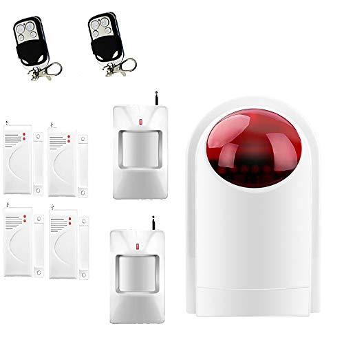 ECTECH Kit de Seguridad - Kit Alarma de Hogar - Sistema de Alarma antirrobo inalmbrico con Unidad de Sirena - 4 sensores de Puerta de Ventana, 2 sensor de movimiento PIR y 2 Controles Remotos