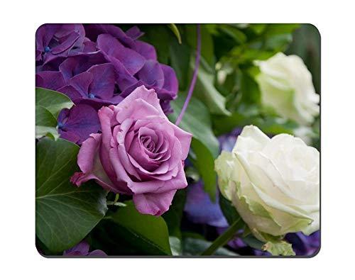 Gaming Mauspad Vernähte Kanten rutschfest Gummierte Unterseite Waschbar Mousepad Blumenbild 250X300X3mm