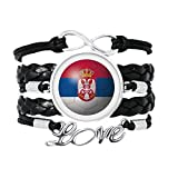 スルビヤ国旗サッカーワールドカップ 愛のアクセサリーツイストレザーニットロープリストバンド編み