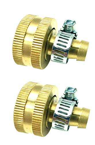BRUFER 5022H Brass Female Garden Hose Thread Swivel with 3/8' Barb x 3/4', Includes Galvanized Steel Clamps - Pack of 2 Complete Fittings with Clamps