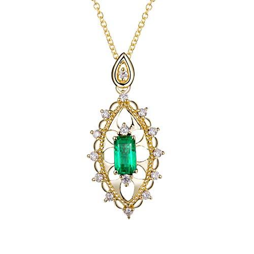 Bishilin Colgante Collar Oro 750, 0.5ct Esmeralda Rectangular Y Flor Hueca En Forma con 0.24ct Diamantes Collares Pendientes Collares Hipoalergénicos para Adolescentes, Niñas Y Mujeres