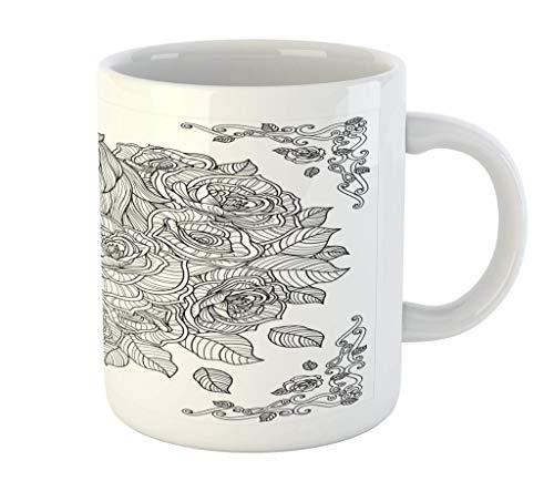 N\A Taza del Unicornio, Unicornio en Superposición línea incompleto y Flor de manzanilla Coloring Book impresión del Modelo, cerámica Taza Taza de Agua de té Bebidas, 11 de oz, Blanco Gris Oscuro