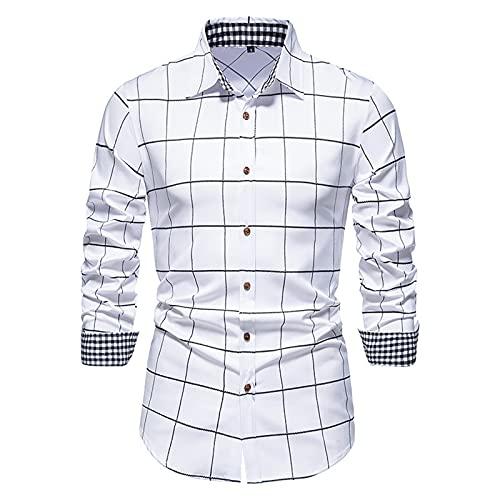 SSBZYES Camisas para Hombres Camisas De Manga Larga para Hombres Camisas a Cuadros para Hombres Camisas a Cuadros De Manga Larga para Hombres Camisas con Botones a Cuadros Tops