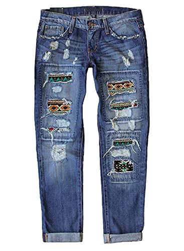 Astylish Womens Stretch Ripped Denim Pants Cloth Block Splicing Distressed Boyfriend Plus Size Jeans with Plaid Patches G Blue Small