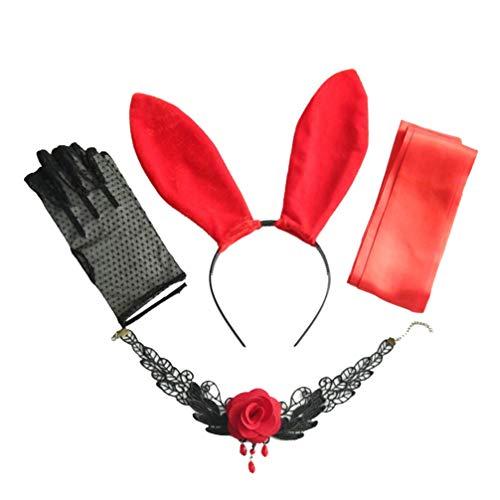 Tendycoco kostuumaccessoires, sexy halsband, haas, oren, haarband, kant, gebreide handschoenen, masker voor vrouwen