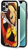 Custodia a portafoglio per iPhone 12, anime con un punzone di uomo Saitama porta carte di credito, elegante portafoglio in pelle per uomini d'affari, donna elegante, con chiusura magnetica