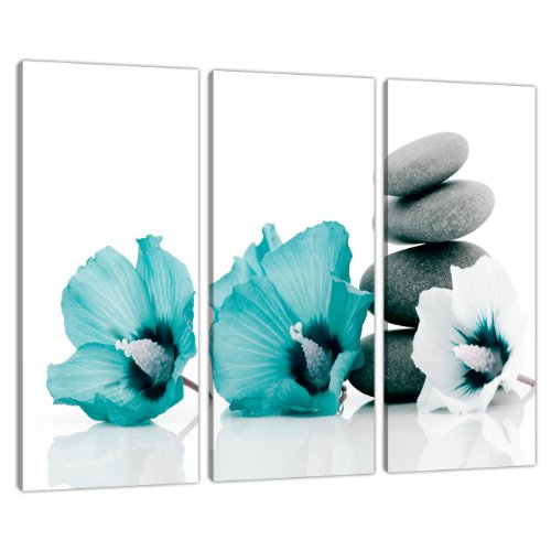 Set of 3 Teal Floral Wall Pictures Split Canvas Art Bedroom Print 3072 by Wallfillers