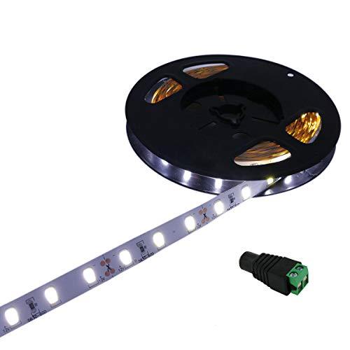 YUNBO Striscia LED Bianco Freddo 6000-6500K, 5M 12V SMD 5630 300LED Flessibile Tagliabile IP20 Non impermeabile Luci a LED per Casa Camera Cucina