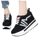 Berimaterry Zapatillas para Mujer Moda Casual Lona Plataforma Gruesa con Cordones CuñAs Zapato De Trabajo Zapatos para Damas Zapatillas de Plataforma Cuña Deportivo para Mujer Primavera