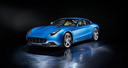 "Carrozzeria Touring Berlinetta Lusso based on Ferrari F12berlinetta (2015) Car Art Poster Print on 10 mil Archival Satin Paper Blue Front Side Studio View 11""x17"""