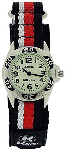 RAVEL NITE-GLO Quarz-Armbanduhr für jungen mit leuchtendem Ziffernblatt und schwarz-rot-weißem Klettband R1704.10