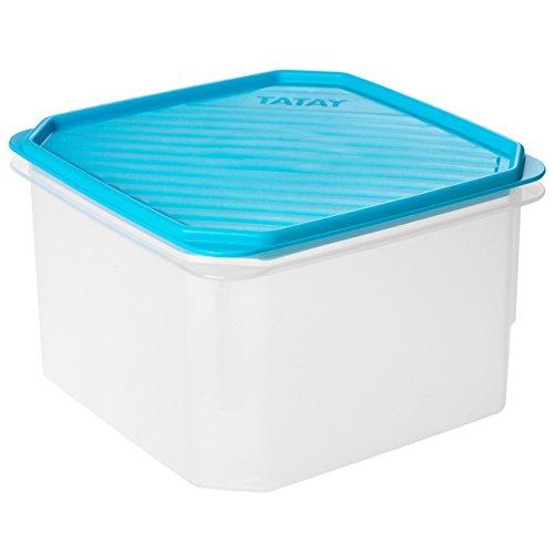Tatay Fiambrera de Alimentos, Hermética, 2.9L de Capacidad, Tapa Flexible a Presión, Libre de BPA, Apto Microondas y Lavavajillas, Color Azul. Medidas: 18.5 x 18.5 x 12.2 cm
