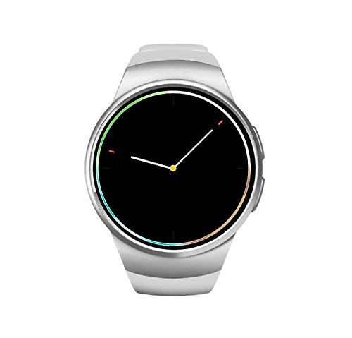 Pure Circle Reloj Inteligente Bluetooth Kw18 Smart Wear Tarjeta Bluetooth Llamada Inteligente Reloj, Pantalla táctil Bluetooth Reloj y cámara (Color : Silver+White)