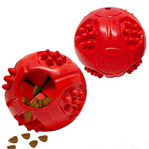 Pelotas de Comida para Perros Juguetes IQ Ball Dispensador de Alimentos IQ Entrenamiento para Perros medianos y Grandes, Filete aromático de Goma Suave, Gruesa, Juego de 2 Rojo