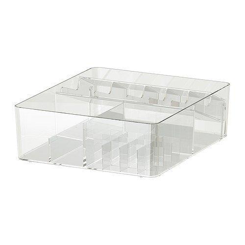 GODMORGON Förvaringsenhet, låda med fack, transparent, hjälper dig att organisera dina smycken och smink. av GODMORGON