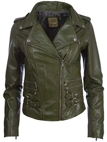 Aviatrix Damen-Bikerjacke aus echtem Leder, Cross-Zip, mehrere Reißverschlüsse (AGSM) Gr. XXL, flaschengrün