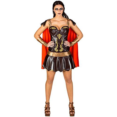 TecTake dressforfun Costume da Donna - Gladiatrice Sexy | Mini-Abito Super Sexy | Gonnellino a Strisce in Tipico Look Guerriero | Bracciali da guerriera (XXL | No. 300462)